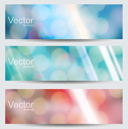 Set of Abstract vector banners with  blurred background and bokeh lights