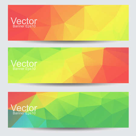 Set of Abstract vector banners with polygonal background  Illustration