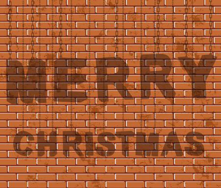 brick background: Testo di Natale su sfondo di mattoni.