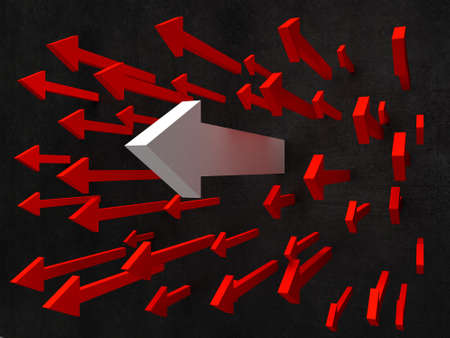 breaking through: 3D illustration of red arrow breaking through a  wall Stock Photo