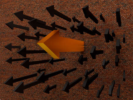 overcome: 3D illustration of  arrow breaking through a   wall.