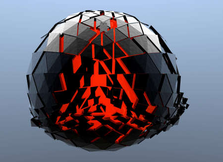 red sphere: Black and Red Sphere Shattered Abstract 3d isolated on background