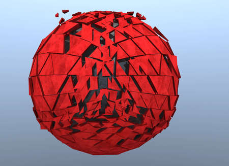shattered: Red Sphere Shattered Abstract 3d isolated Stock Photo