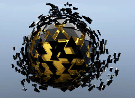 Black and Gold Sphere Shattered Abstract 3d isolated on background