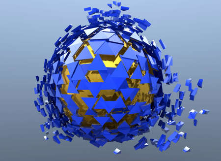 shatter: Sphere Shattered Abstract 3d isolated on background