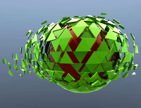 shattered: Green Sphere Shattered Abstract 3d isolated on background