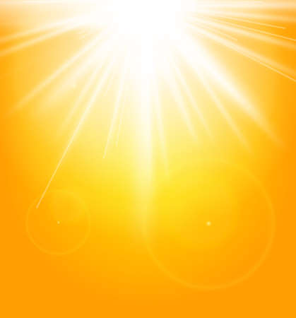 light rays: Summer natural background with sun Illustration