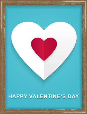 wood frame: Happy Mother Day Heart On Wood frame Background