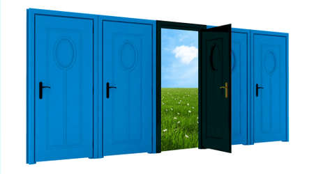 room door: Room with open door to field