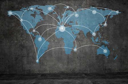 World technology mesh network on wall