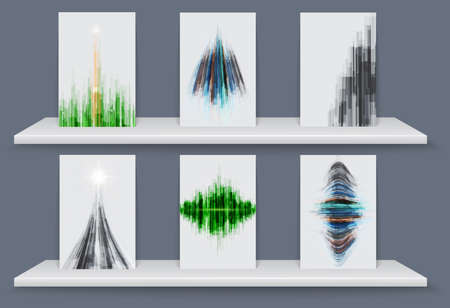 Geometric elements abstract background with White shelves. Vector