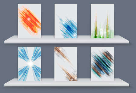 Poster geometric elements abstract background with White shelves. Vector Illustration