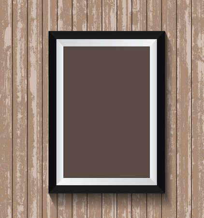 Black frame on old wood texture background design