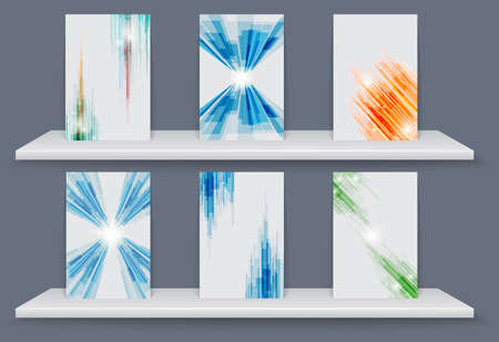 Geometric elements abstract background with White shelves. Illustration