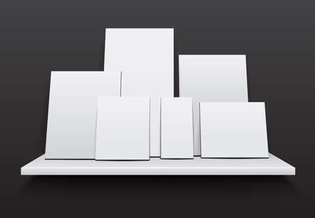 Blank empty frame or poster with White shelves. Vector.