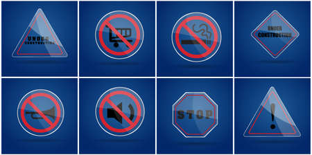 silence: Glass warning sign ,no smoking sign,under construction sign,silence sign,stop sign on blue background Illustration