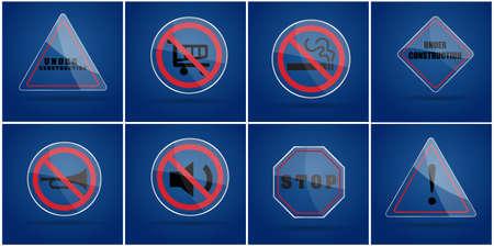 under construction sign: Glass warning sign ,no smoking sign,under construction sign,silence sign,stop sign on blue background Illustration