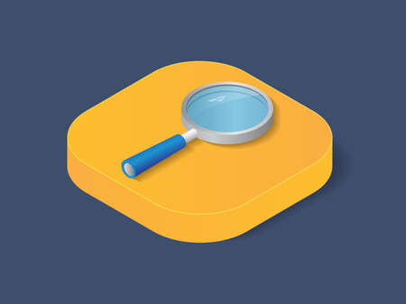 Flat 3d isometric magnifier trendy style business, illustration