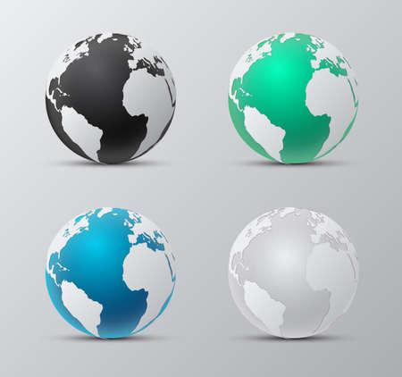 Set  Map of the world globe isolated on background. Illustration Illustration