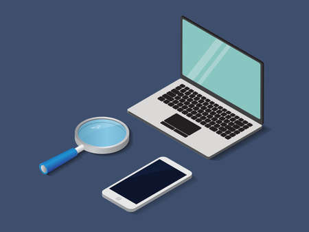 Flat 3d isometric labtop , phone and magnifier trendy style business, illustration Illustration