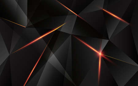 Abstract geometric triangle shape with light flare on background. illustration.