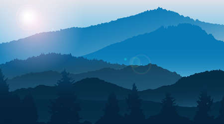 Blue mountains landscape in the fog. Illustration