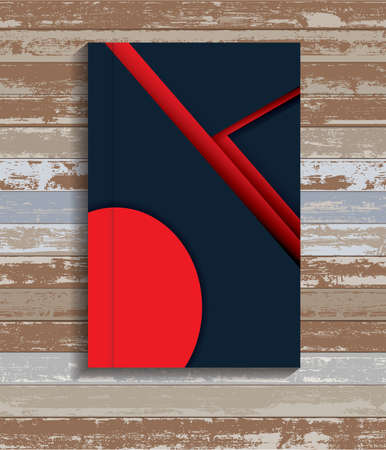 Material Design Book Cover On wood Background