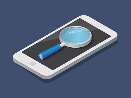 Flat 3d isometric phone and magnifier trendy style business, illustration Illustration