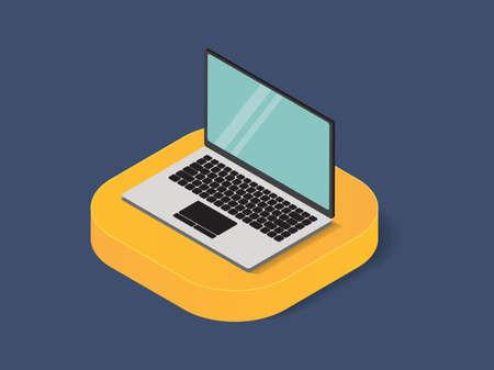Flat 3d isometric  laptop trendy style business, illustration