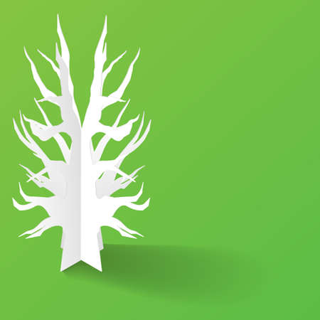 Abstract 3D Paper Trees On Background
