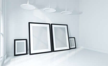 Mock up poster on white wall and white floor room modern interior 3d rendered