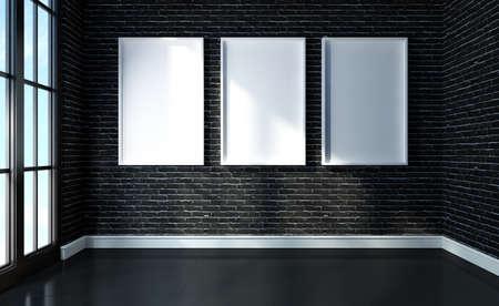Mock up poster on black brick and black floor room modern interior 3d rendered