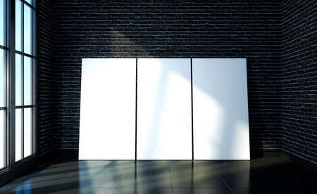 Mock up poster on black brick and black floor room modern interior