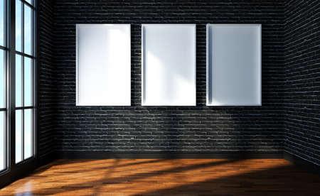 Mock up poster on black brick room modern interior  3d rendered