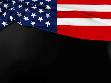 America flag of fabric texture with copy space on dark background