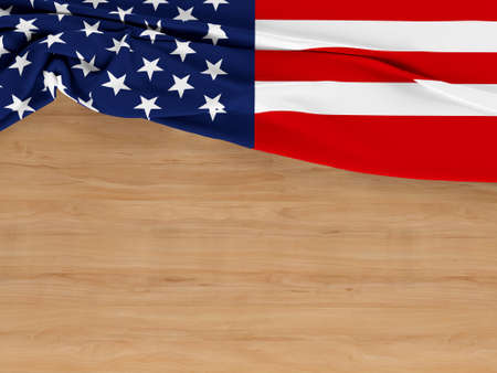 America flag of fabric texture with copy space on wood background