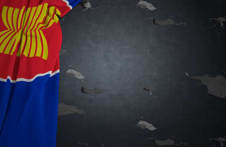 asean: ASEAN Economic Community.Flag AEC of fabric texture with concrete texture dark background .3D Rendering