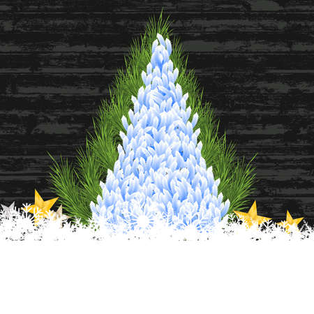 old wood: Merry christmas tree snow and star on old wood background Illustration