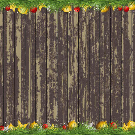 old wood: Merry christmas and Happy New Year Celebration elements on old wood background
