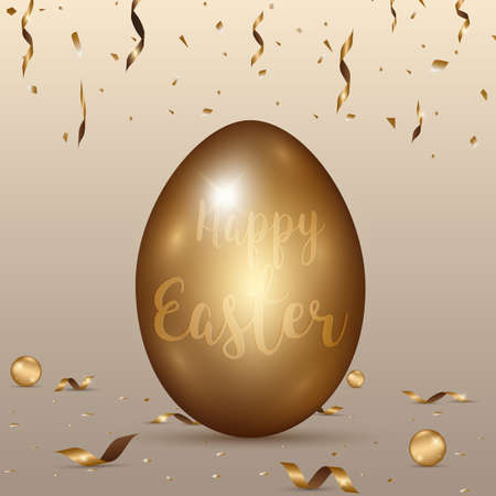 ribbin: Easter gold eggs with confetti ,ribbin gold abstract background.vector illustration