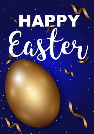 Easter eggs gold with confetti gold and dark blue colors free space place for text. Illustration