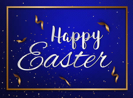 ribbin: Easter eggs text with confetti gold and dark blue colors free space place for text.