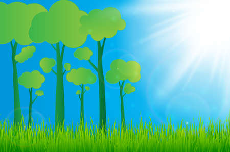Green eco paper art design style, tree, sun  with grass nature ecology idea.vector illustration