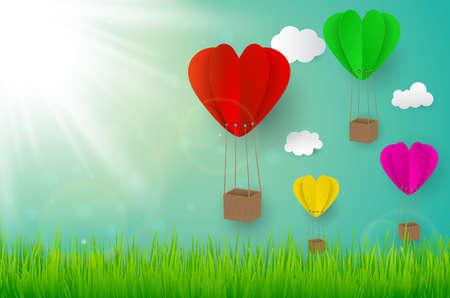 Paper art design style,house with grass, sun heart balloon, nature ecology idea.vector illustration