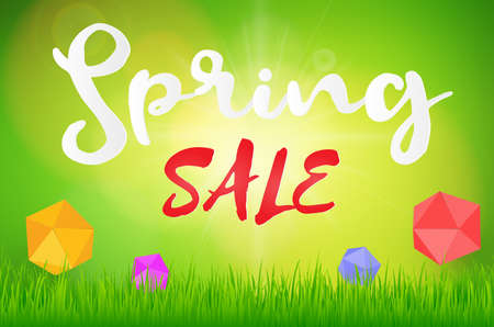 Spring sale background with beautiful green and sun with grass , peper box. Vector illustration