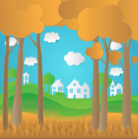 Concept eco paper art design style, tree, house and grass with nature, ecology idea.vector illustration Illustration