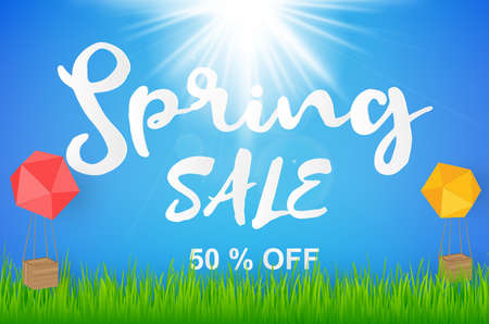 Spring sale background with beautiful blue and sun with grass. Vector illustration Illustration