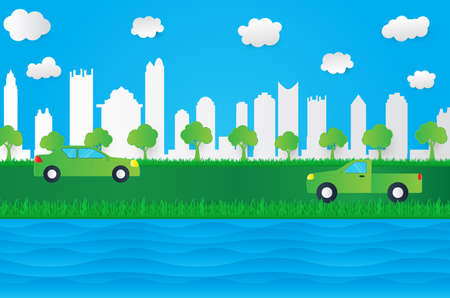 Green eco paper art design style, tree and city car with cloud water nature ecology idea.vector illustration