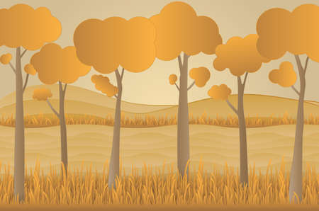 Concept eco paper art design style, tree and grass with nature, ecology idea.vector illustration Illustration