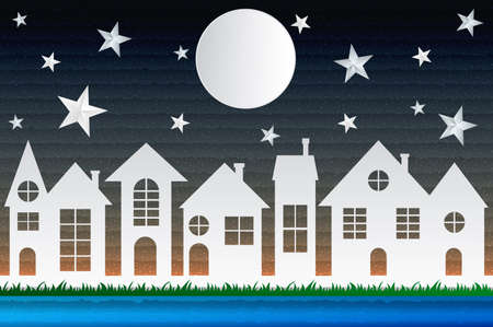 Paper art design style,house with moon, star, water  nature, ecology idea.vector illustration